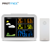PROTMEX PT7002W LCD Wireless Weather Station Alarm Clock Digital Thermometer Hygrometer Barometer Forecast Daily Alarm Wall Type