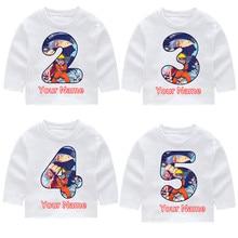 Naruto Stars Boys And Girls Print Birthday Number Long Sleeve T-shirts KIds Fall Tops Baby Girl Harajuku Clothes