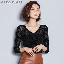 AOSSVIAO Blusas Femininas 2019 Floral Casual Women Shirts Slim Long Sleeve Shirt V-Neck Womens Tops And Blouses Blouse Femme цена