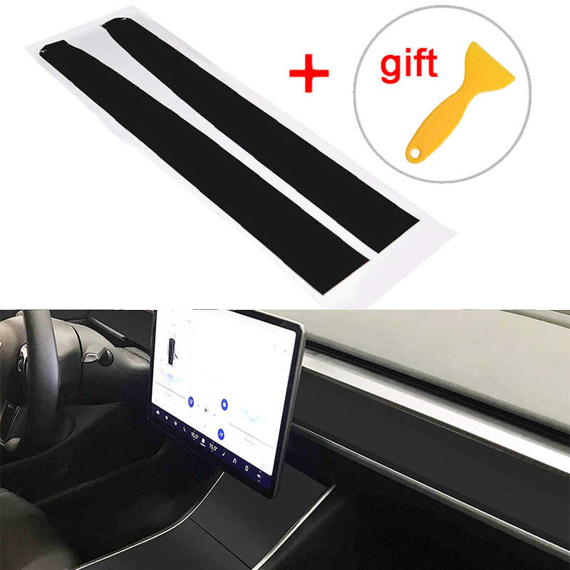 Onderdelen Auto Sticker Kit Voor Tesla Model 3 Interieur Dashboard Hout Wrap Matte Black