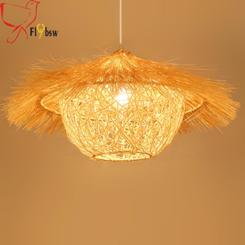Işıklar ve Aydınlatma'ten Kolye ışıkları'de Çin tarzı Rattan çim ev kolye lamba  kahve/doğal renk hasır örme kuş kafesi yaratıcı aydınlatma armatürü restoran için title=