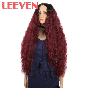 Image 2 - Leeven Hair Synthetic Ombre Blonde Black Red Wig 30 Inch Long Wavy African American Wigs For Women High Temperature Fiber