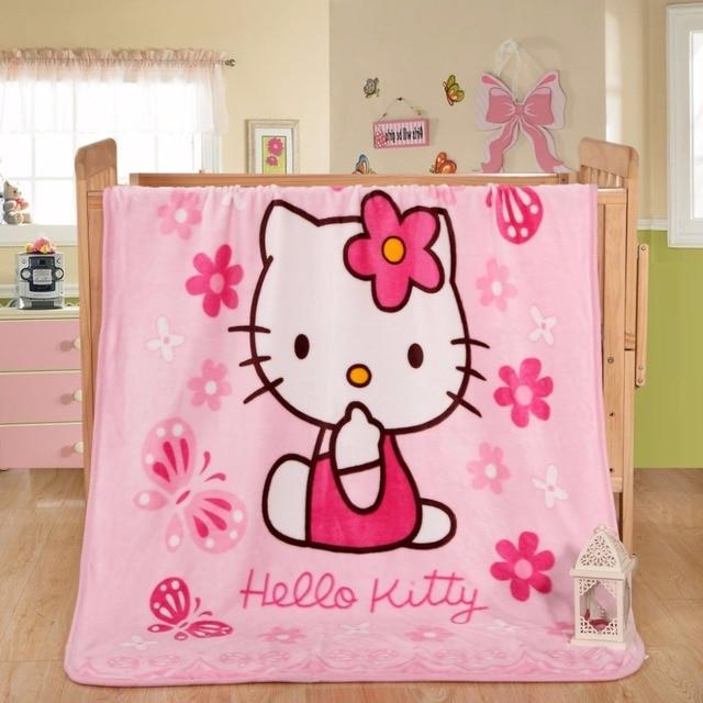 Cartoon Children Soft Throw Blankets Hello Kitty Doraemon Fleece Custom Hello Kitty Fleece Throw Blanket