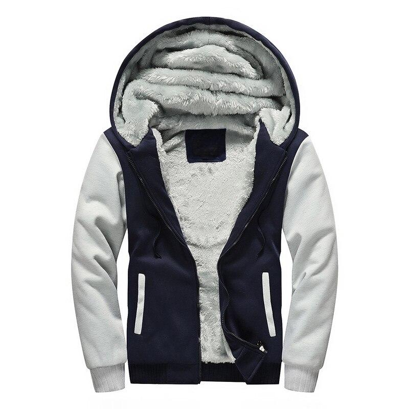 Winter velvet Sweatshirt Men Hoodie Jacket Hooded 2018 Casual Zipper Thicken Fleece Lined Hoody Man Tracksuit Coat Plus Size 5XL