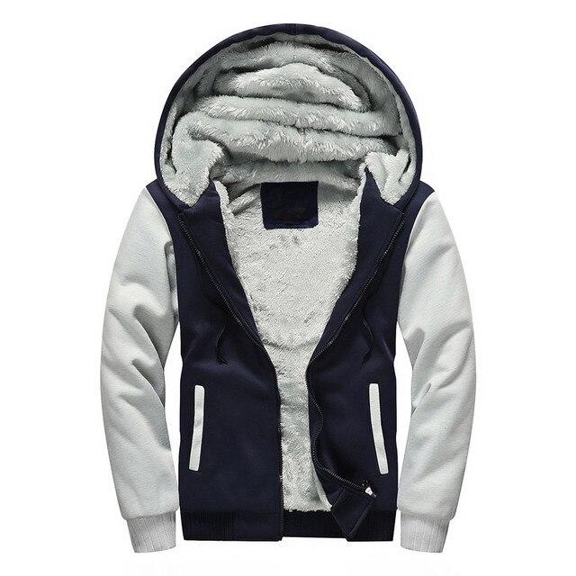3f1fa0a7ff867 Winter velvet Sweatshirt Men Hoodie Jacket Hooded 2018 Casual Zipper  Thicken Fleece Lined Hoody Man Tracksuit Coat Plus Size 5XL