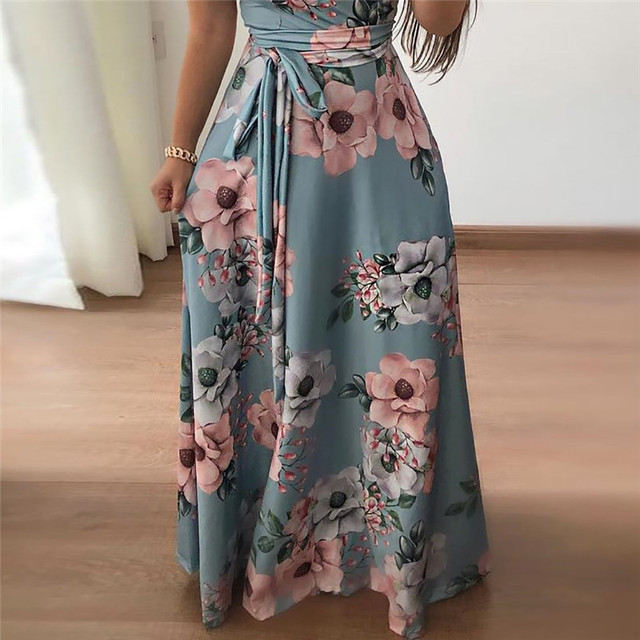Women Summer Dress 2019 Casual Short Sleeve Long Dress Boho Floral Print Maxi Dress Turtleneck Bandage Elegant Dresses Vestido 3