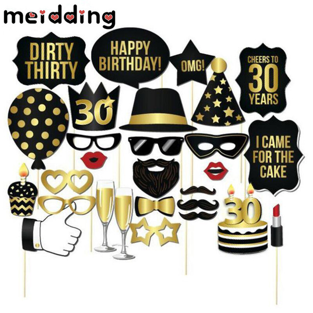 MEIDDING 28pcs Glitter Gold 30 Birthday Photo Booth Party Hat Glasses Board Decor Anniversary Supplies