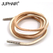 1-12 Pairs White Fashion Quality Genuine Top Layer Leather Shoelaces Retro Boots Shoes Shoestring Metal Head