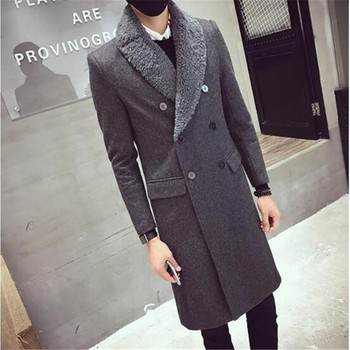 Woolen Overcoat With Fur Collar Double Brested Thick Padding Coat Men Winter Long Thick Warm Jacket Slim Fit Black Grey Trench