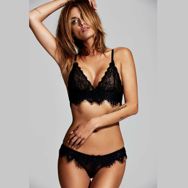 Eyelash Lace Bralette Briefs Soft Triangle Bra Panty Sets Sexy Intimates Crop Top Very Sexy Underwear