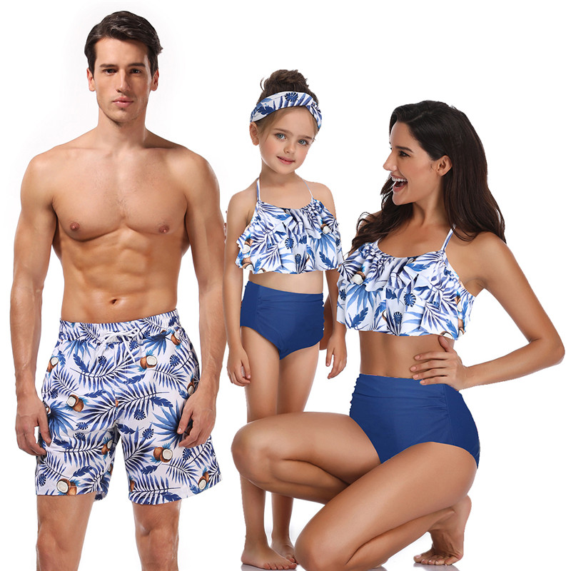 Matching Family Bathing Suit Father Mother Son Daughter Bikini Swimsuits For Dad Mom Boys Girl Children Kid Beach Short Swimwear