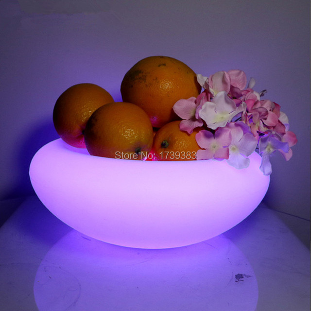 Free shipping Remote control rechargeable glowing flash led fruit bowl serving tray for pub bar home decor