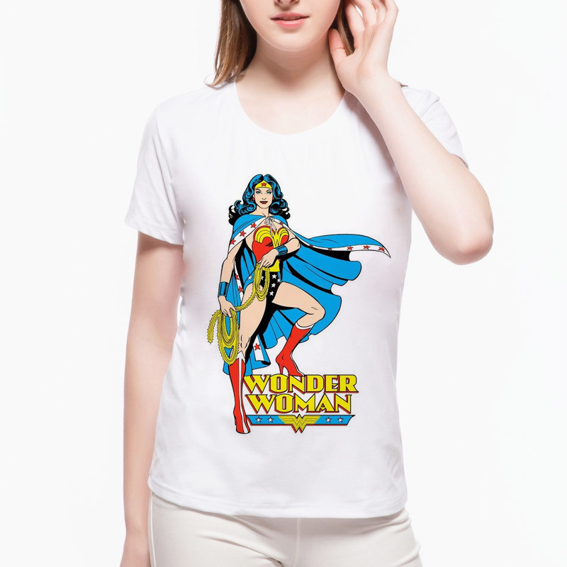 2018 Fashion Newest Funny Female T-shirt Wonder Woman Harajuku Hipster Summer Cool Classic Punk Women Tops camisetas mujerL1-F17