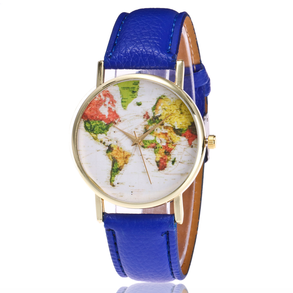 2018fashion Women Quartz Watch Stainless Steel Round Dial Leather Strap World Map Wristwatches Students Clock Brand Female Watch