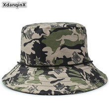 XdanqinX Camouflage Hat Adult Mens Flat Cap Cotton Army Bucket Hats Anti-UV Jungle Womens Beach Fishing Caps