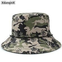 XdanqinX Camouflage Hat Adult Mens Flat Cap Cotton Army Bucket Hats Anti-UV Jungle Womens Beach Fishing Caps