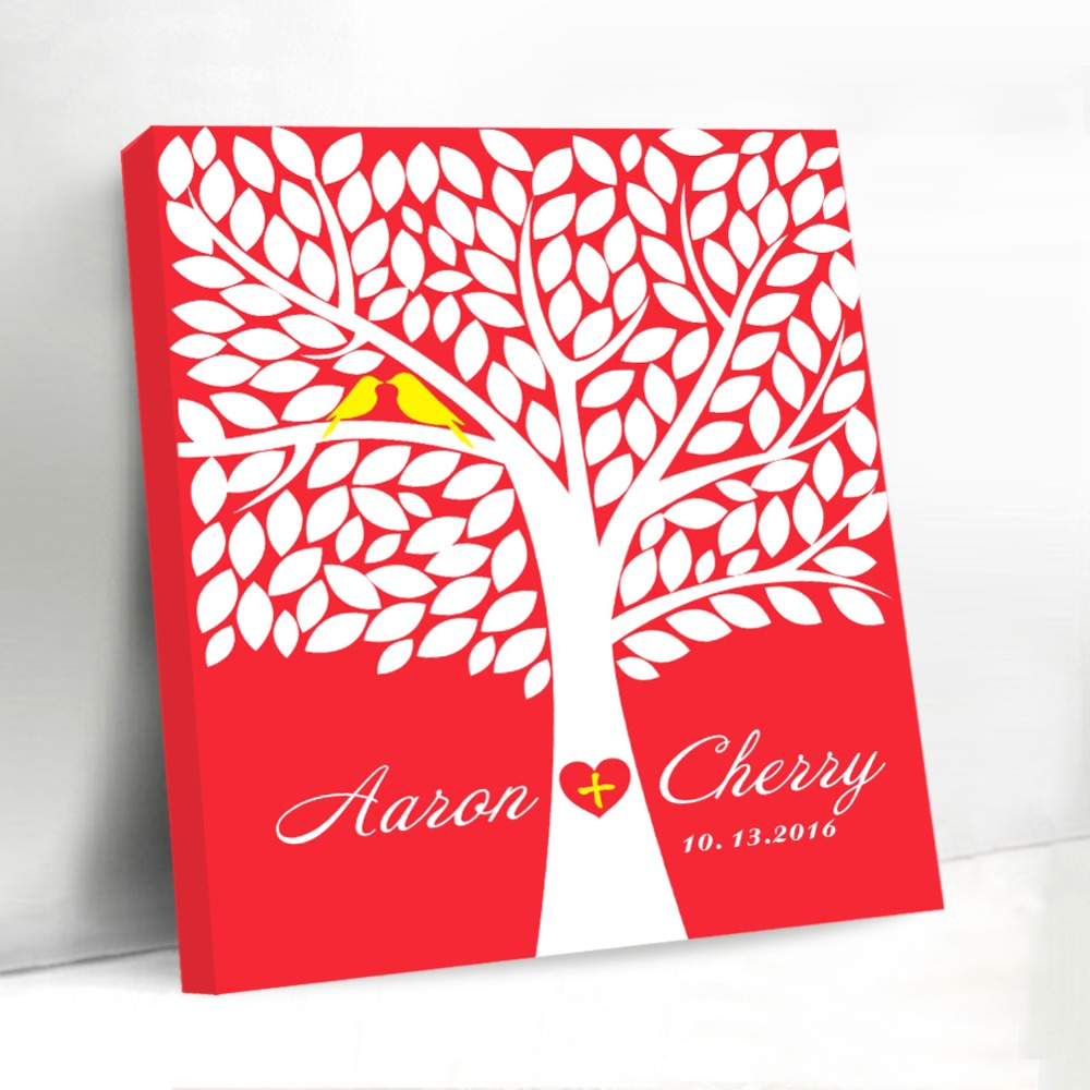 Red Background Canvas Guest Book 40 50cm Wedding Decoration Custom Wedding  Tree Love Bird with Name and Date Signature Book Gift c2348d2adb12