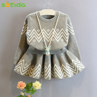 Girls Dress 2016 Winter Geometric Pattern Dress Long Sleeve Girls Clothes Top Coat Tutu Dress Sweater