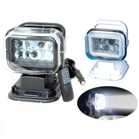 360degree 50W 7inch LED Work Light Remote Control Search Lamp Hunting Marine Boat Camp