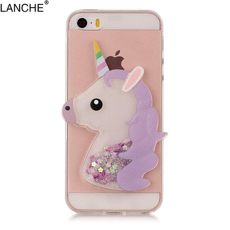 Unicorn Phone Iphone 5 5S SE 5C Case Dynamic Glitter Liquid Horse ... 057ba11c55