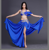 NEWswarovski Crystal Belly Dance Suits Women Performance Show Belly Dance Set Senior Bra Top Skirt 2pcs