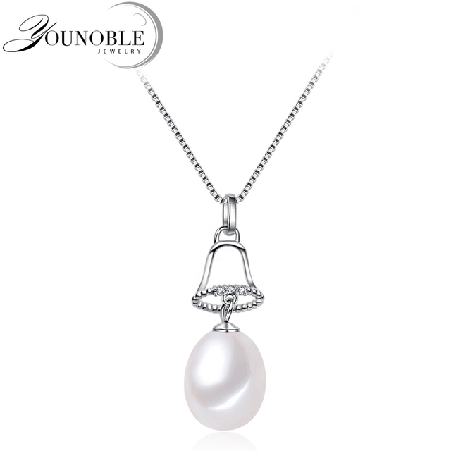 Beautiful freshwater pearl christmas pendant silver 925jingle bell beautiful freshwater pearl christmas pendant silver 925jingle bell natural pearl pendant necklace jewelry trendy aloadofball Image collections