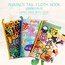 Baby Toys Infant Baby Cloth Book Early Learning Educational Toys with Animals Tails English Story Soft Cloth Development Books 1pc baby educational learning toys infant cloth book cartoon animal pattern baby soft activity crinkle cloth books 1