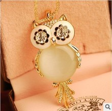 20pcs/lot Wholesale Fashion jewelry Gold Charm Cute Big Opal Owl Pendant Necklace For Men And Women