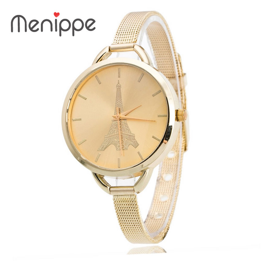 Fashion Women Dress Gold And Silver Metal Mesh Watch Women Slender Steel Belt Watch Contracted Tower Pattern Design