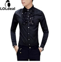 2017 New Korean Brand Fashion Sequin Slim Fit Mens Lace Shirt Long Sleeve Men Dress Shirts Casual Designer Clothes Black White