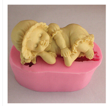 Free shipping Sleeping baby /hat Modelling fondant silicon mold chocolate cake decoration silicone