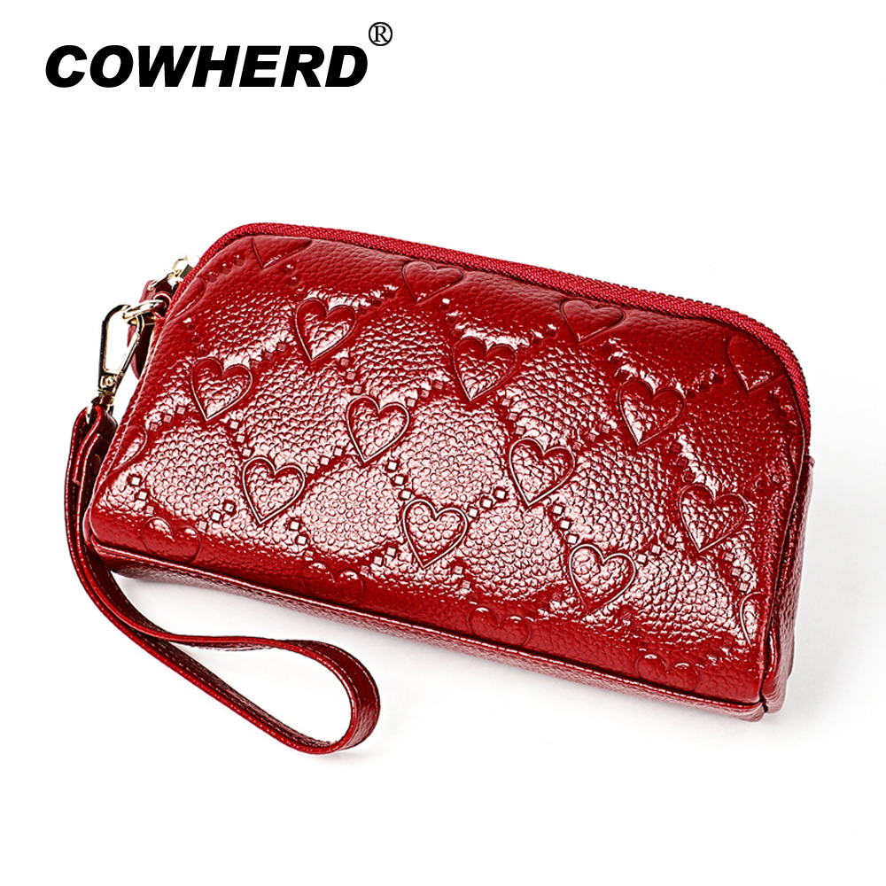 Long Purse Genuine-Leather Wallet Phone-Bag Women Clutch Zipper Hot-Selling Ladies