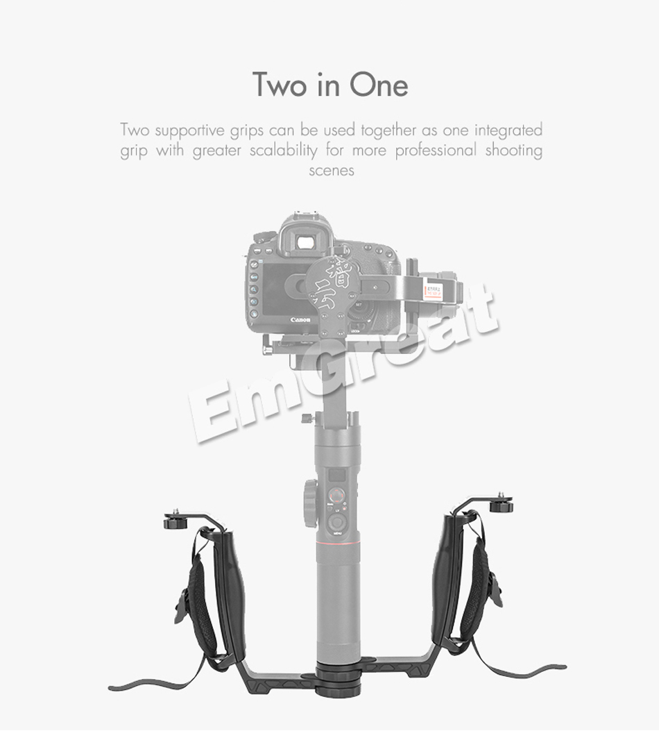 Zhiyun Crane 2 Gimbal Accessories L Bracket TransMount Mini Dual Grip for LED Light /Microphone / Monitor Similar as Dual Handle 6