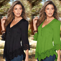 New Women Casual Basic Autumn Summer Style Lace Chiffon Blouse Top Shirt Patchwork V Neck Blusas