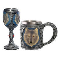 New Product 1Pcs Stainless Steel Wolf Head Goblet Coffee Mug 450ML Beer Steins As A Gift For Boyfriend Fastest ePacket
