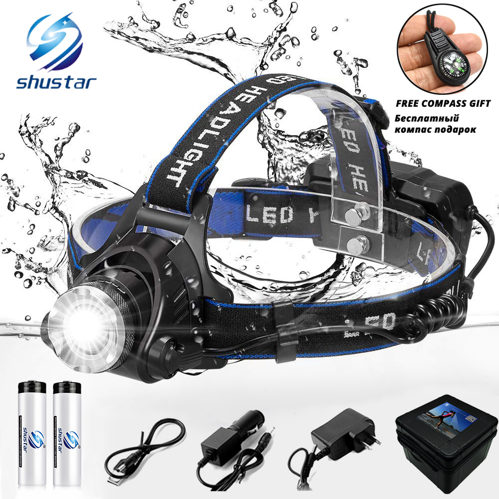 LED scheinwerfer fischerei scheinwerfer 6000 lumen T6/L2 3 modi Zoombare lampe Wasserdichte Kopf taschenlampe Kopf lampe verwenden 18650