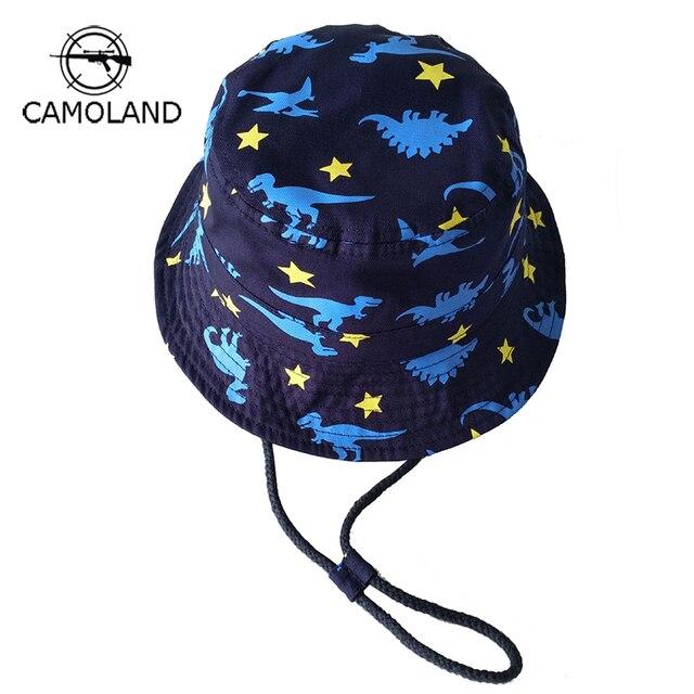 100% Cotton Outdoors Sun Protection Kids Bucket Hat Dinosaur Printing  Summer Boys Girls Panama Children e850216a530b