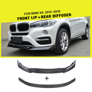 Carbon Fiber Car Front Bumper Lip Spoiler and Chin Rear Spoiler Wing for BMW X6 Base Sport Utility 2014 - 2018 image