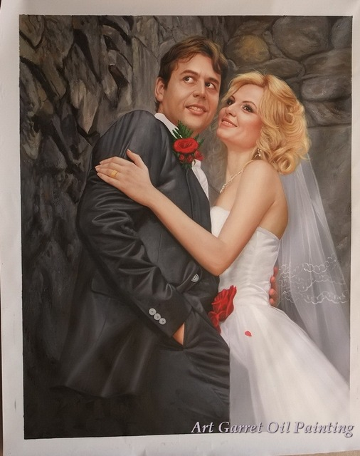 100 Hand Painted Museum Quality Wedding Oil Paintings On Canvas Commission A Portrait
