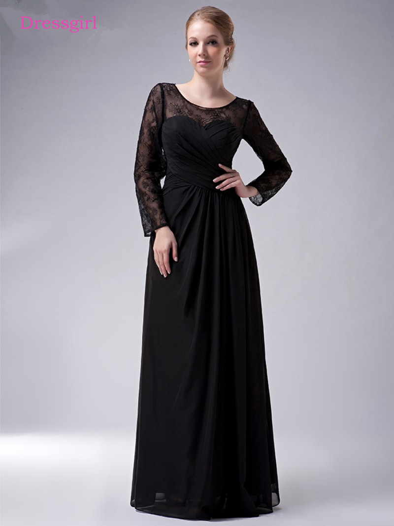 Black 2019 Mother Of The Bride Dresses A-line Long Sleeves Chiffon Lace Plus Size Long Elegant Groom Mother Dresses Wedding