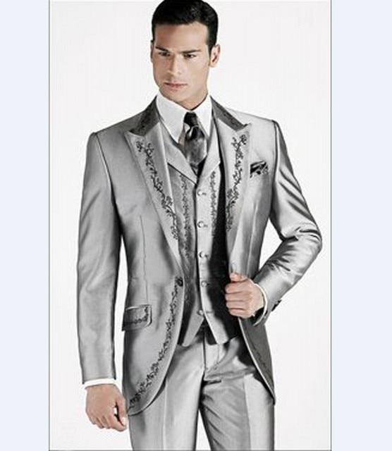 Men's Silver vest with notch lapel eUge0g8yZ