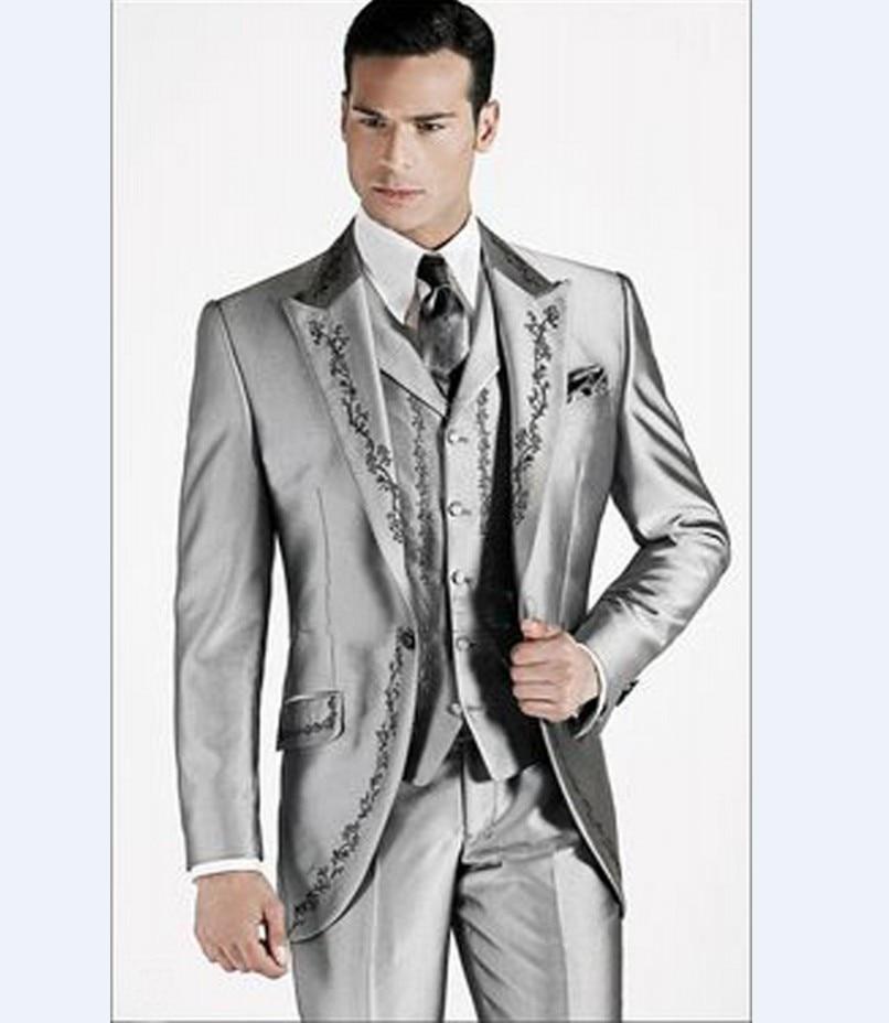 Embroidery Groomsmen Peak Lapel Groom Tuxedos Silver Grey/Grey/Royal Blue/Navy Blue/Black Best Men Suit(Jacket+Pants+Vest)C7
