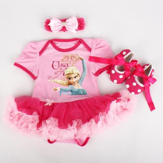 Conjuntos de Roupas Infantis Da Menina recém-nascidos Easter Rendas Tutu Vestido Jumpersuit Romper + Headband + 3 pcs Set Bebe Primeiro Trajes de aniversário