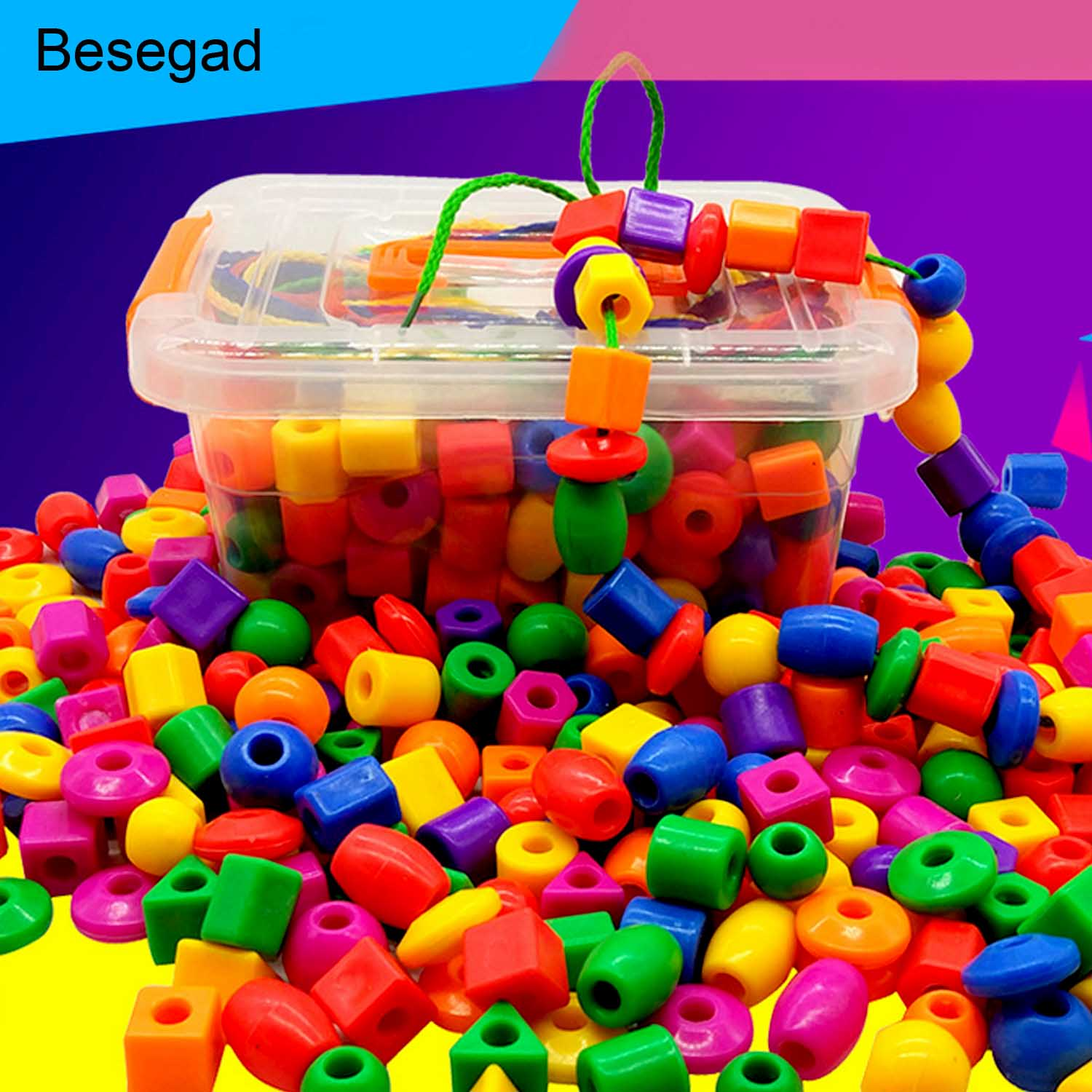 Besegad 1 Set Colorful Wooden String Lacing Bead With 3 Laces For Children Jewelry Making Creative DIY Beads Toy Educational Toy