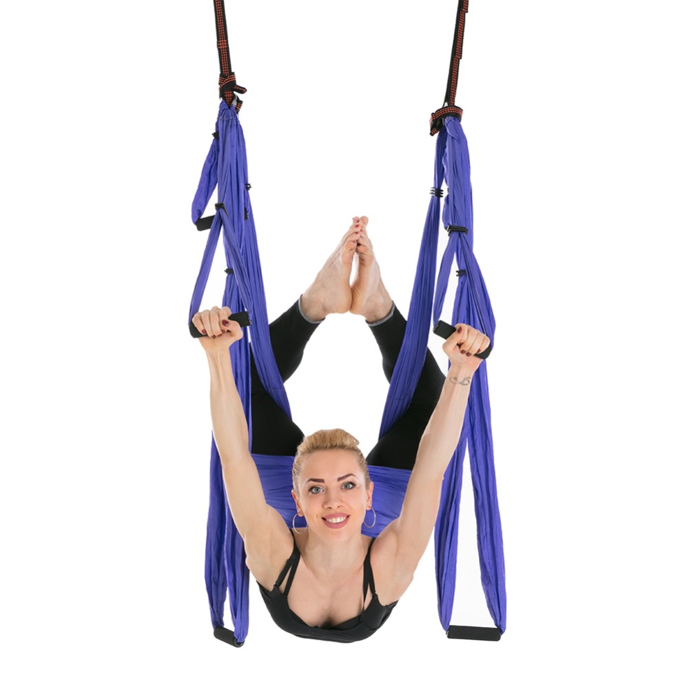3a11629efd 2.5*1.5m 6 Handles Anti-Gravity Aerial Traction Device Yoga Hammock Strap  Pilates Home Gym Hanging Belt Swing Trapeze