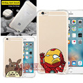 Armadura à prova de choque caso claro macio para iphone 5s se 6 6 S 6 Mais 6 S Plus Ponto Totoro Doraemon Tampa Traseira Ironman Spiderman Capa