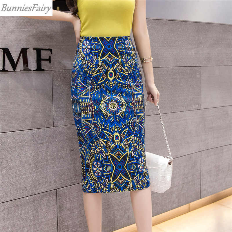 BunniesFairy 2019 lato jesień eleganckie barokowe geometryczny wzór wysokiej talii mocno spódnica ołówkowa nosić do pracy OL biuro odzież damska