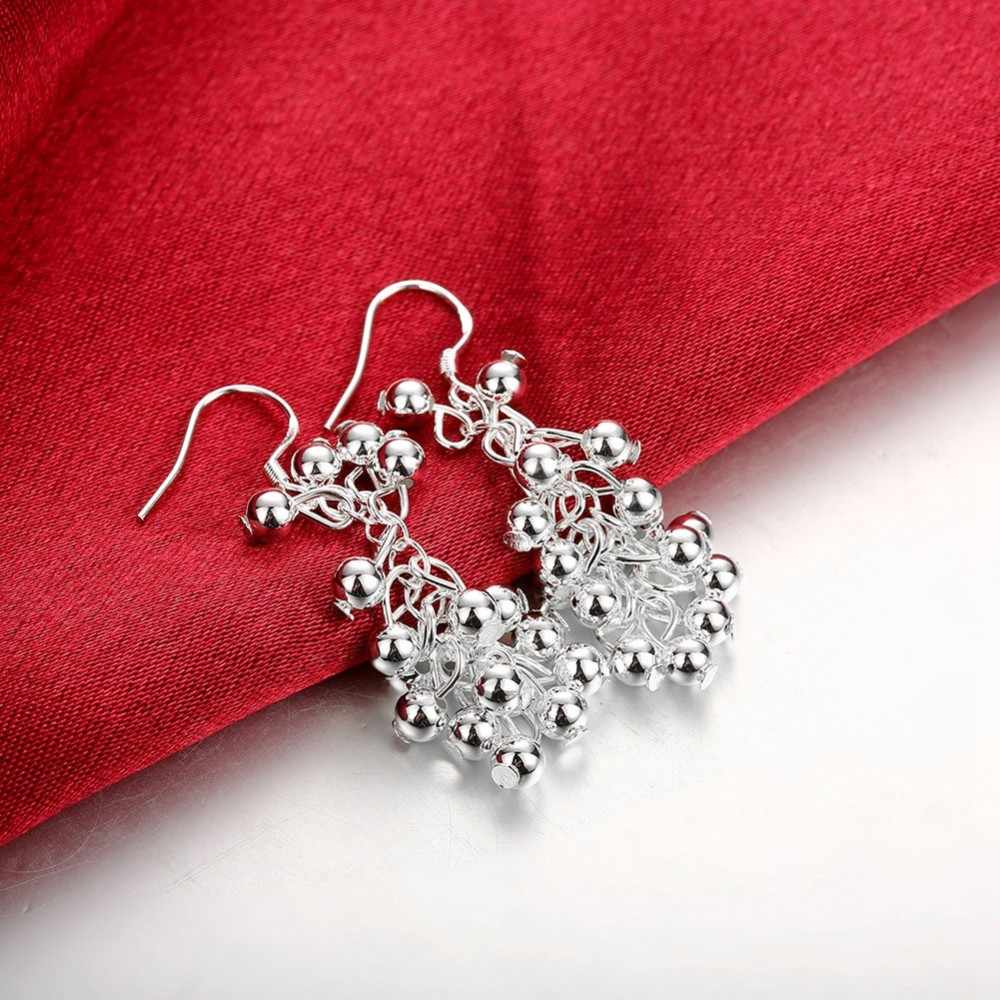 GÜZEL sevimli kadınlar gümüş kaplama takı seti moda Avrupa asılı boncuk üzüm kolye bilezik yüzük Damla küpe seti S277