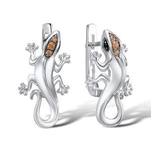 Image 4 - Женский комплект украшений SANTUZZA, кольцо и сережки в виде ящерицы из серебра 925 пробы с кубическим цирконием цвета шампанского, модные ювелирные украшения для вечеринки