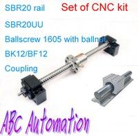 SBR doğrusal raylı CNC için dahil kiti Set/Ballscrew/BKBF sonu destek/somun braketi